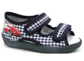 RBB13_112_0101OT Navy Checkered Canvas Sandals