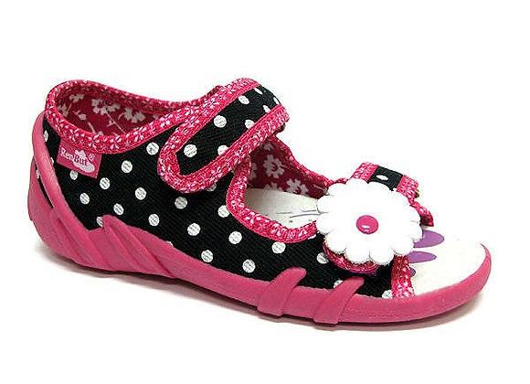 RBG33_378LS_0102OT Navy Polka Dot Canvas Shoes