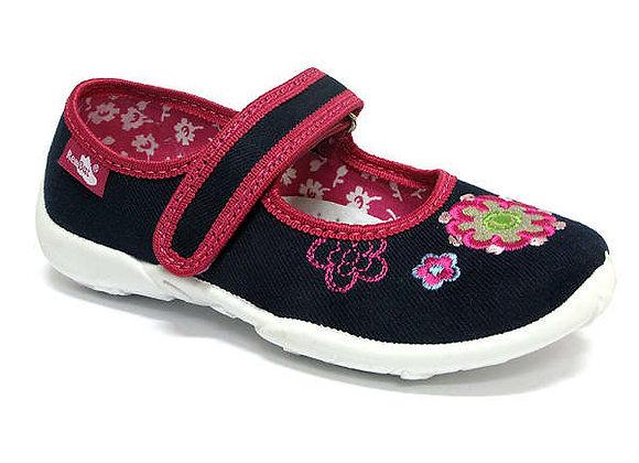 RBG33_415_0188 Navy Flower Canvas Shoes