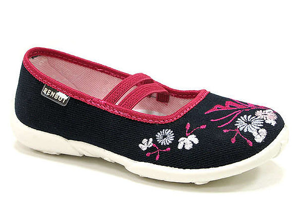 RBG33_414_0112 Navy Flowers Canvas Shoes