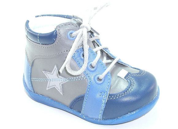 KB3862_GRAY_HT Blue Gray Leather Shoes