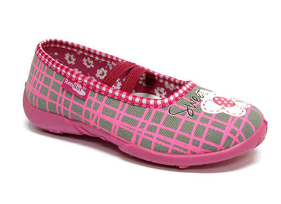 RBG33_414_L0544 Gray/Pink Checkered Canvas Slippers