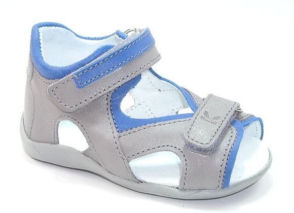 KB3708_OS Gray Blue Leather Sandals