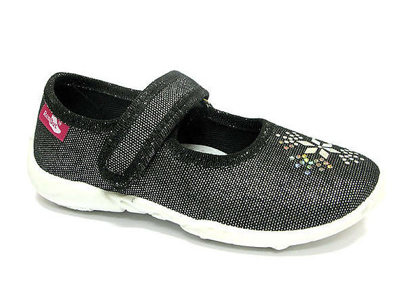 RBG33_415_P0755 Sparkly Black Jewel Canvas Shoes