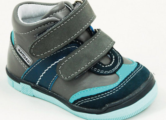 GB101_03_HT Gray-Teal Leather High Tops