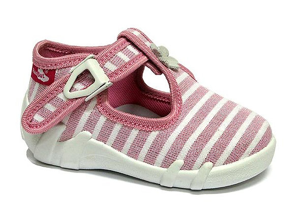 RBG13_102_P0811 Striped Baby Pink Canvas Shoes