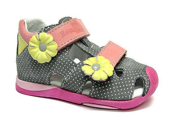 RBG11_1433_0160_CS Gray Polka Dot Leather Sandals
