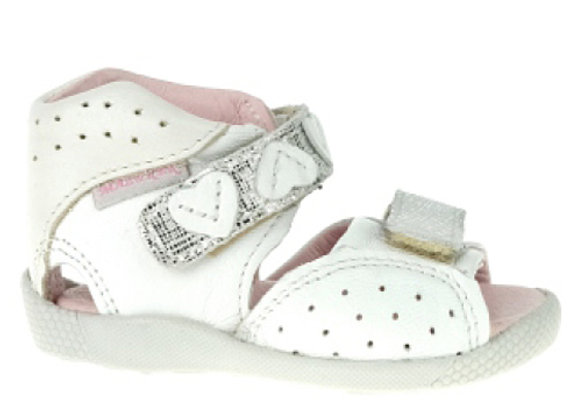 MG309W_OS White/Silver Leather Sandals