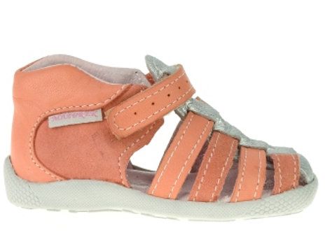 MG245C_CS Coral/Silver Leather Sandals