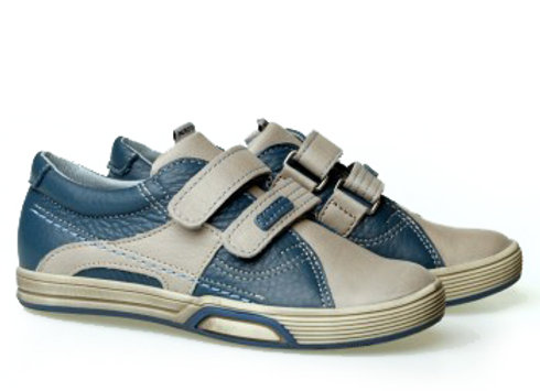 MB_1305_GRAY_JEANS Leather Sneakers
