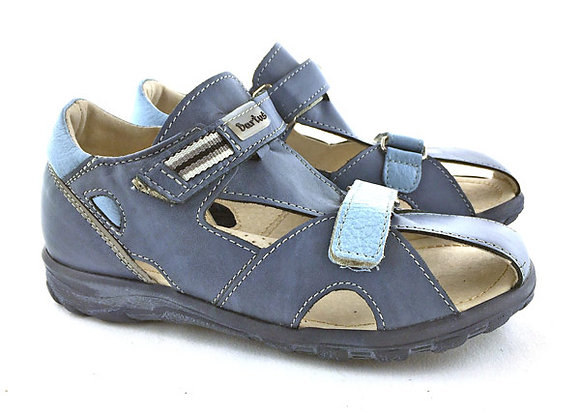 BB121B_OS Blue Leather Sandals