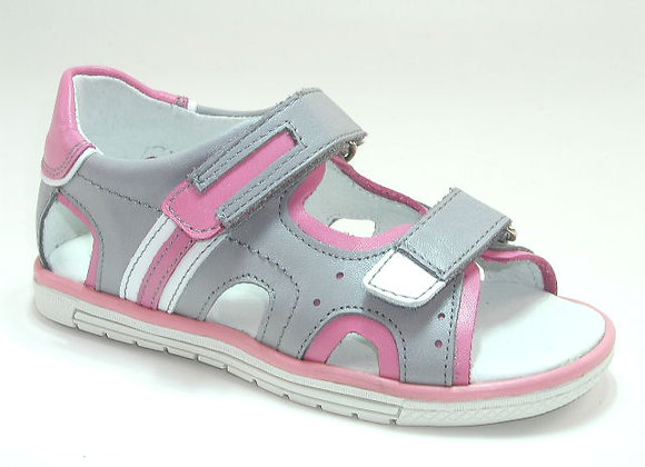 KG3747_OS Gray/Pink Leather Sandals