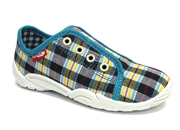RBB33_379_0549 Navy/Yellow Checkered Canvas Shoes