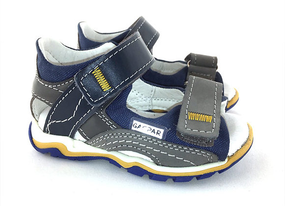 GB012_38_OS Gray Navy Leather Sandals