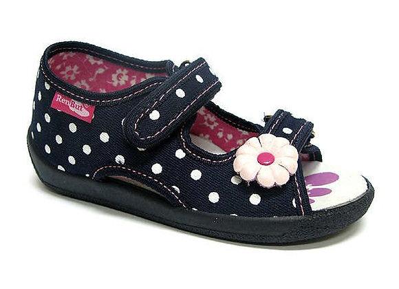 RBG13_112_0102OT Navy Polka Dot Canvas Sandals