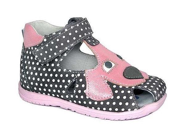 RBG11_1342_CS Gray Polka Dot Leather Sandals