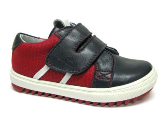 RBB23_3336_0112_S Navy-Red Leather Sneakers