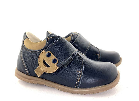 RBB13_1476_D Navy-Beige Leather Shoes