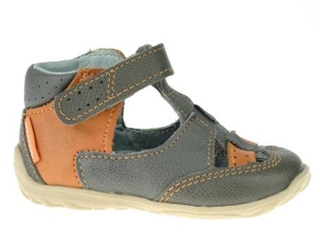 MB187_CS Gray/Cognac Leather Sandals
