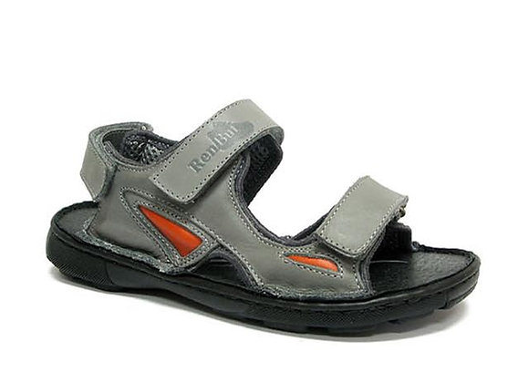 RBB31_4255G_OS Gray Leather Sandals