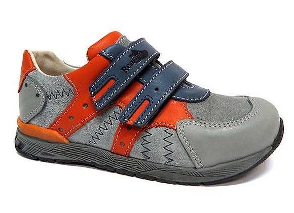 RBB23_3282W_S Gray-Orange Leather Sneakers