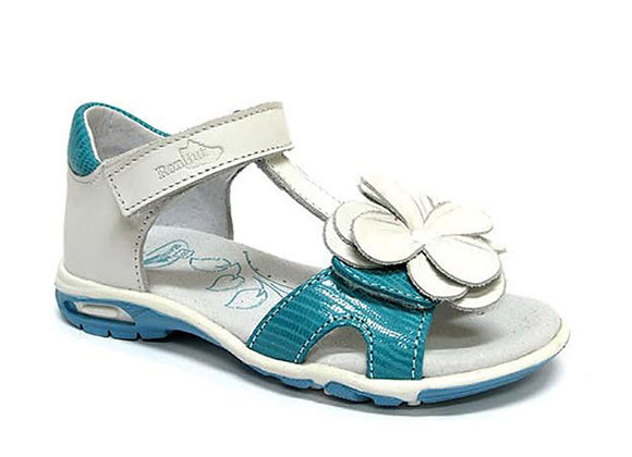 RBG21_3199T_OS White/Turquoise Leather Sandals