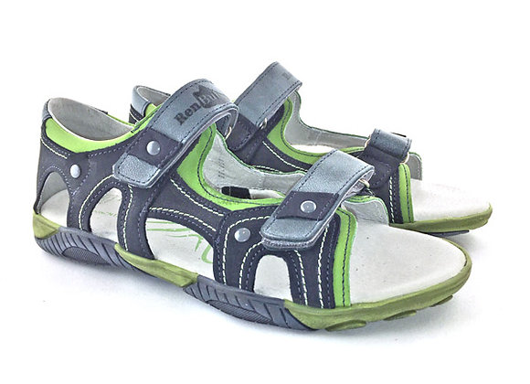 RBB31_4332_OS Navy-Green Leather Sandals