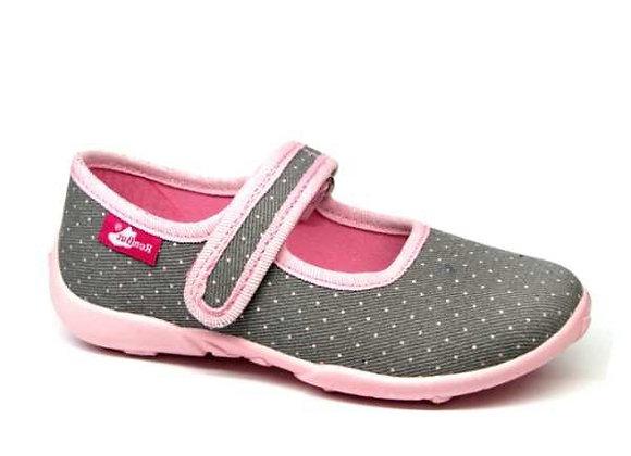 RBG33_415_P0822 Gray Mini Polka Dot Canvas Shoes