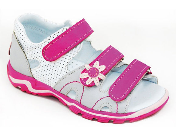 GG030_43_OS White/Gray/Pink Leather Sandals