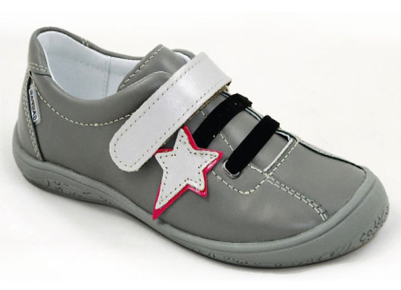 GG250_35_S Gray Star Leather Sneakers