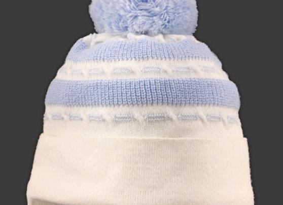 JZA012_P_WHB White-Blue Winter Hat