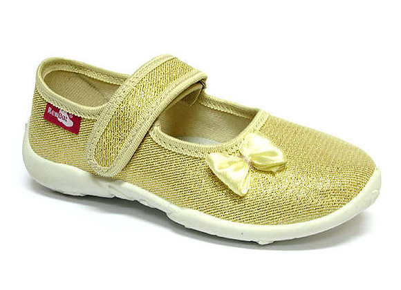 RBG33_415_0401 Gold Bow Canvas Shoes