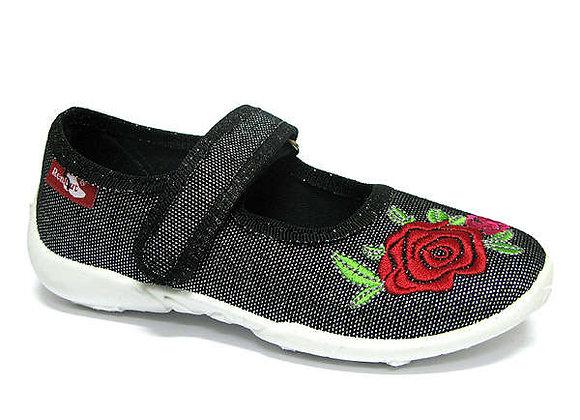 RBG33_415_P0922 Sparkly Black Rose Canvas Shoes