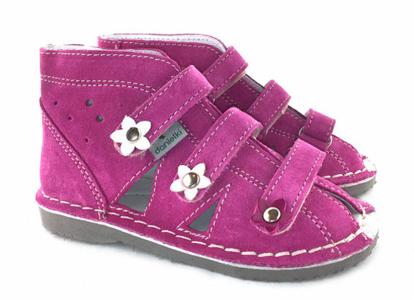 DGS_S124 Magenta Suede Sandals