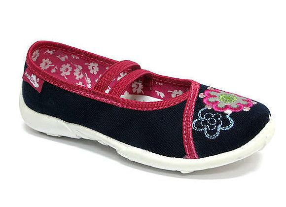 RBG33_419_0188 Navy Flower Canvas Shoes