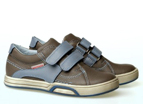 MB_1305_D_GRAY Leather Sneakers