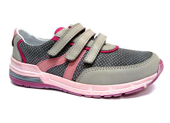 RBG33_4297_0160_S Gray Polka Dot Leather Sneakers