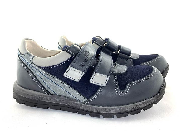 RBB33_4298_S Navy Leather Sneakers