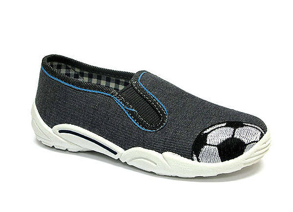 RBB33_372_0150 Gray Soccer Ball Canvas Shoes