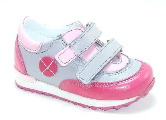KG03881_GRAY_S Gray/Pink Leather Sneakers