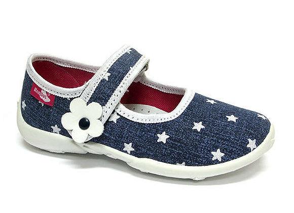 RBG33_415_P0723 White Starry Jeans Canvas Shoes