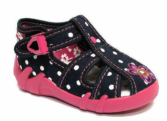 RBG13_106_0102CT Navy Polka Dot Canvas Sandals