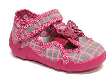 RBG13_145_L0544 Pink/Gray Checkered Butterfly Canvas Shoes