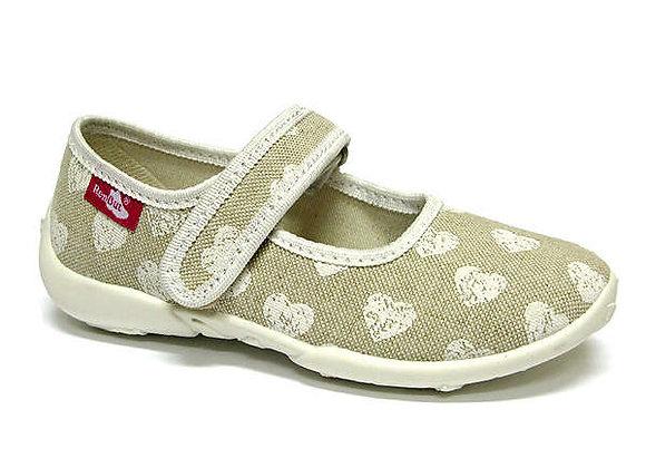 RBG33_415_P1031 Beige Hearts Canvas Shoes