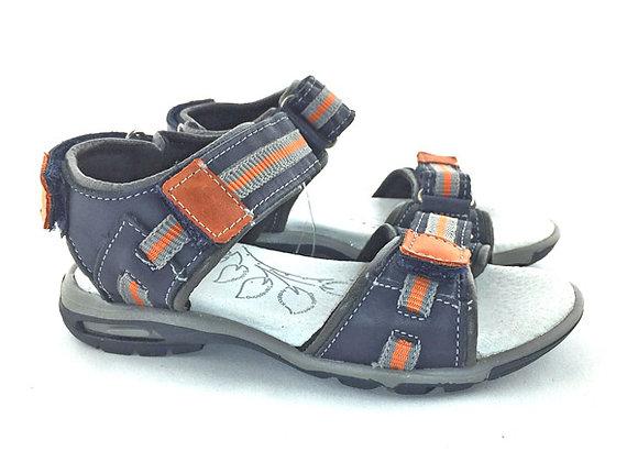 RBB21_3168_OS Navy Orange Leather Sandals