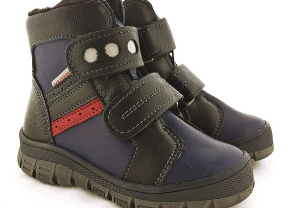 MB1339_WB Navy Black Leather Boots
