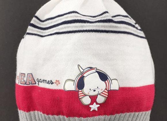 JB16128_SH White-Gray-Red Striped Spring Hat