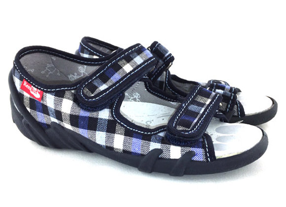 RBB33_378_OT Navy Checkered Canvas Sandals
