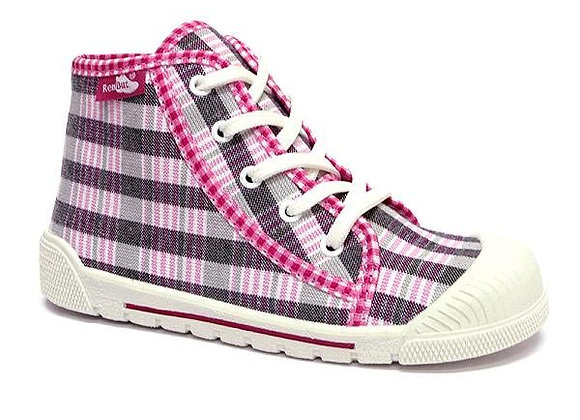 RBG33_381_L0563 Pink Checkered Canvas High Tops