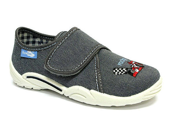 RBB33_373_0147 Gray Race Car Canvas Shoes